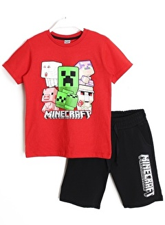 Minecraft Minecraft Erkek Çocuk Tişört Şort Alt Üst Takım 5-6 Yaş Kırmızı